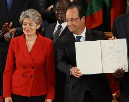 Irina Bokova  - François Hollande Remise prix
