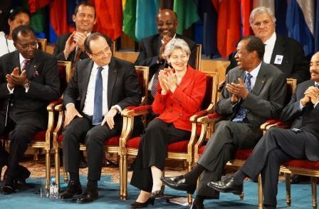 Idriss Déby Itno - François Hollande -Irina Bokova - Blaise Compaoré