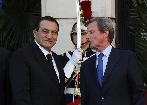 Le président Hosni Moubarak ( Egypte) et le ministre Bernard Kouchner ( France )