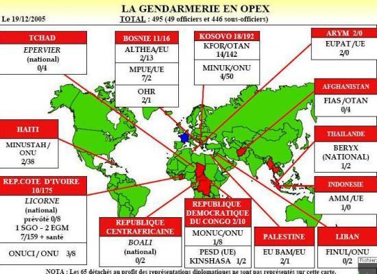Déploiement de la gendarmerie française
