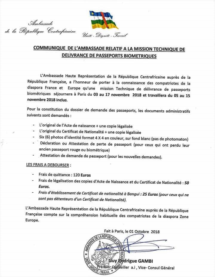 Ambassade Du Centrafrique En France Communique