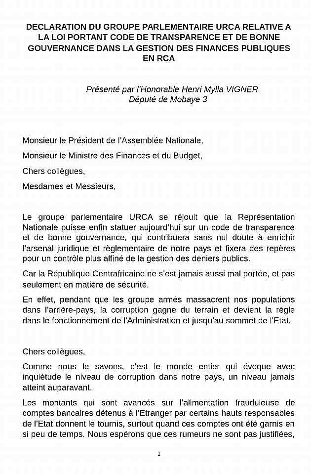 Déclaration Du Groupe Parlementaire Urca