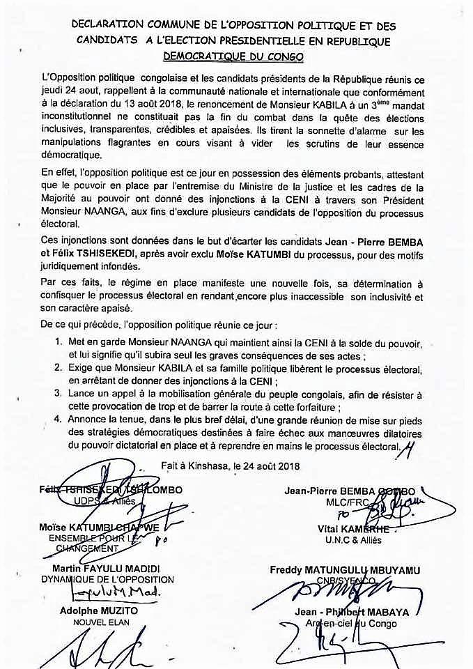 RDCongo   déclaration commune de l opposition politique et des candidats à  l élection présidentielle 216ac3d04eff