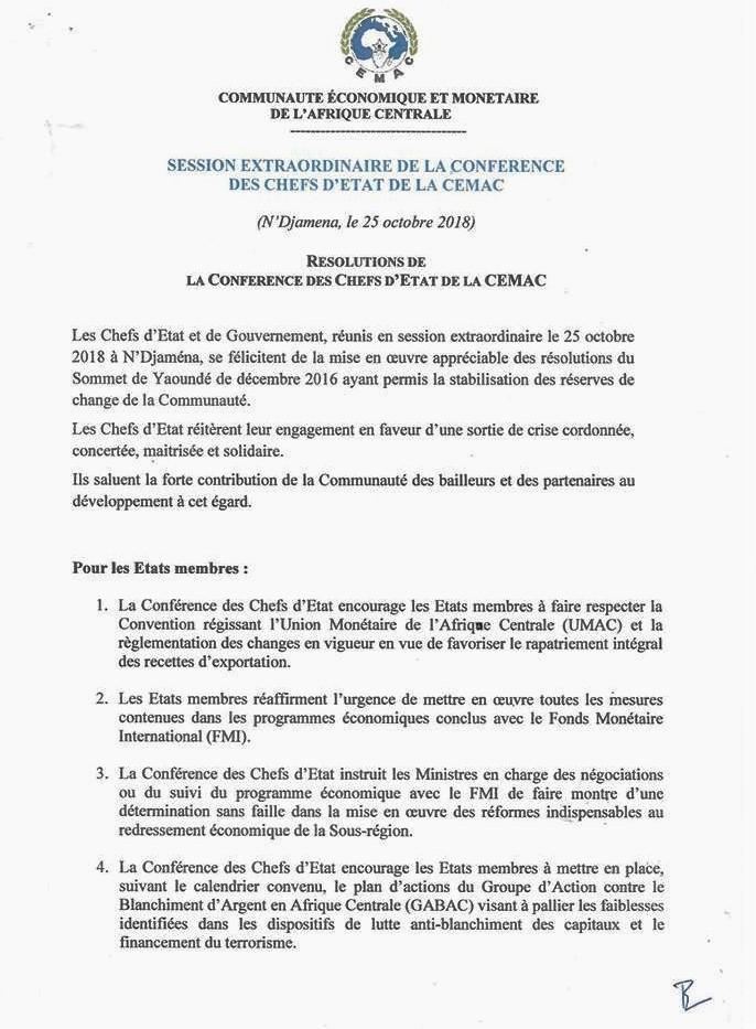 cd30e18ef82191 CEMAC   résolutions de la conférence des chefs d Etat - 25 octobre 2018