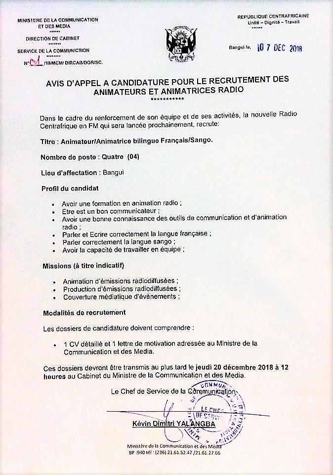 Centrafrique Appel à Candidature
