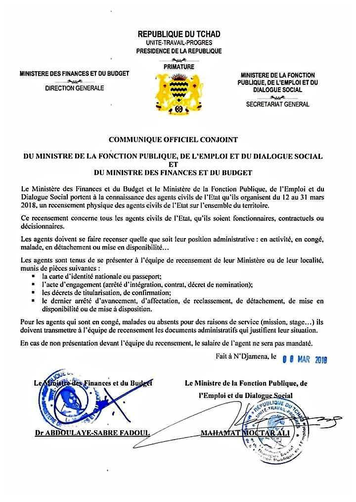 Tchad communiqu des ministres de la fonction publique de l 39 emploi et des finances et du budget - Salon de la fonction publique ...