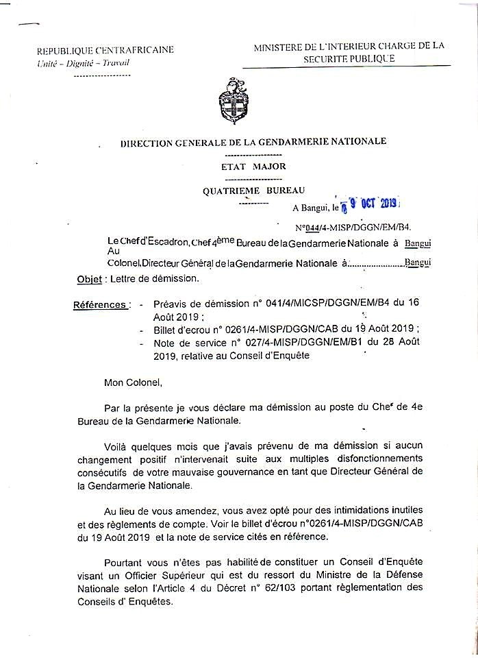 Centrafrique Crise à La Gendarmerie Nationale