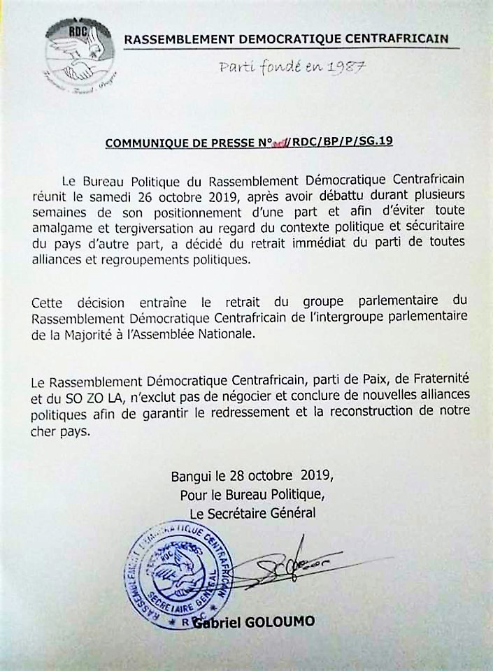 Centrafrique Désiré Nzanga Kolingba Ayant Lappui De La
