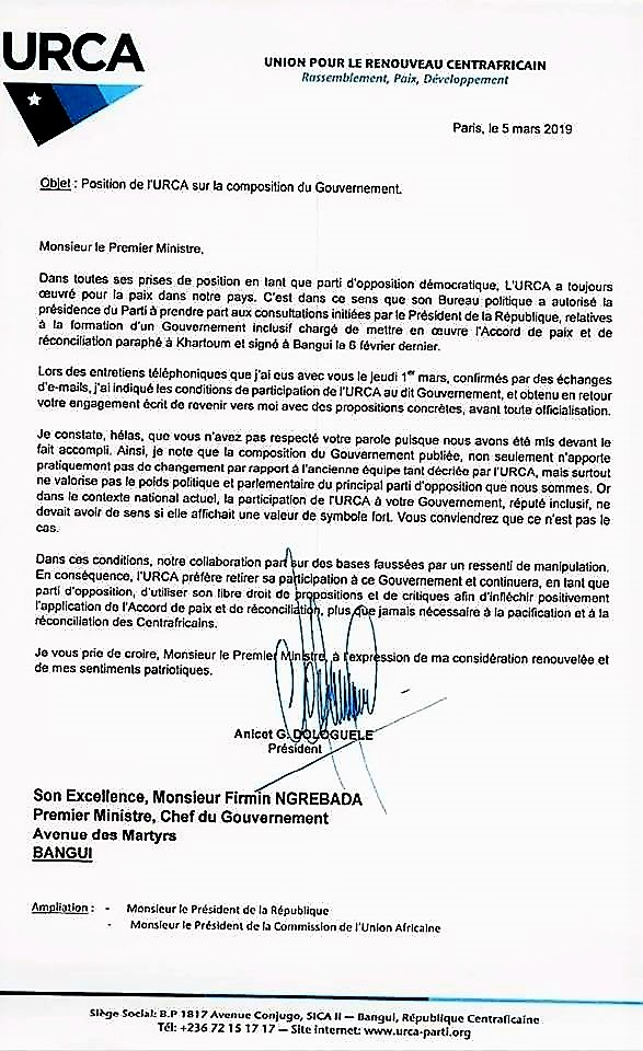 Bangui Position De Lurca Sur La Composition Du Gouvernement