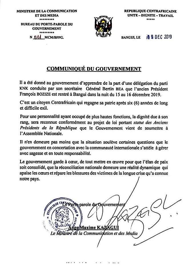 Centrafrique Le Gouvernement Communique